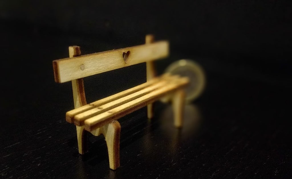 Laser Cut Tiny Bench 3mm Plywood Free DXF File