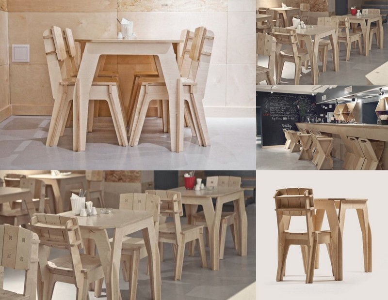 Plywood Cafe Furniture Set Chair Table Free DXF File
