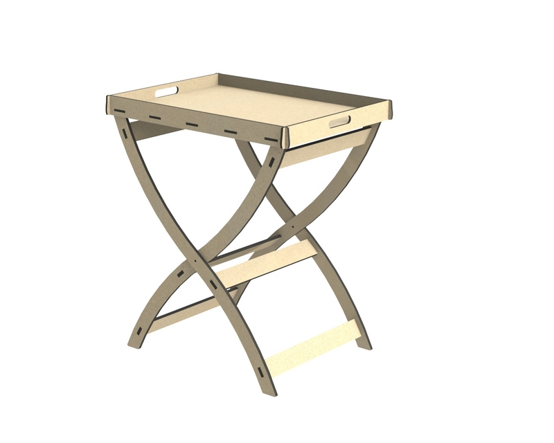 Round Cross Legged Tray Top Side Table Free DXF File