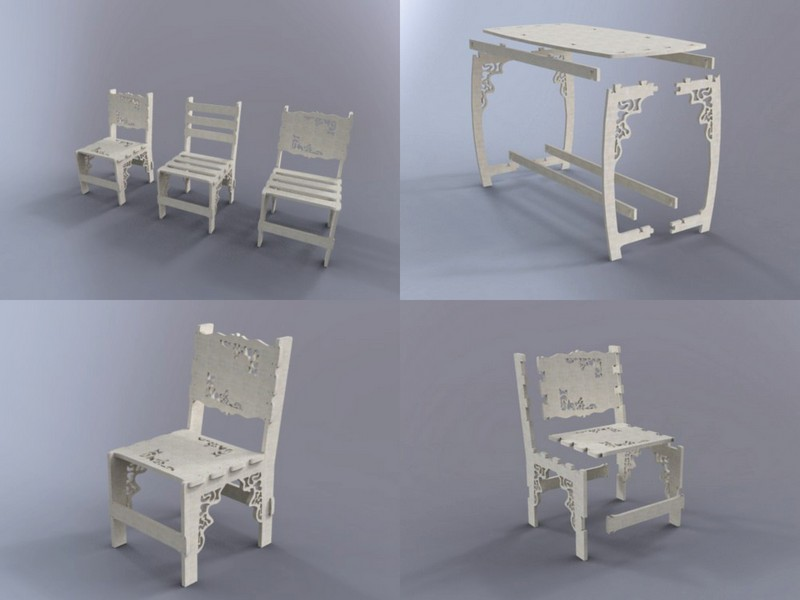 Table And Chair Flat Free DXF File