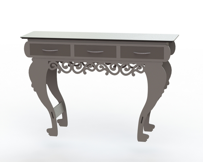Table With Three Drawers Free DXF File