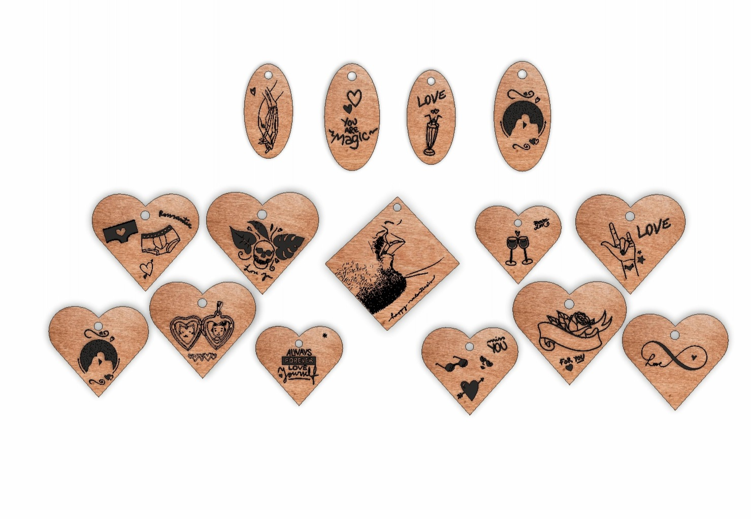 Laser Cut Engrave Wood Personalized Keychains Free CDR Vectors Art