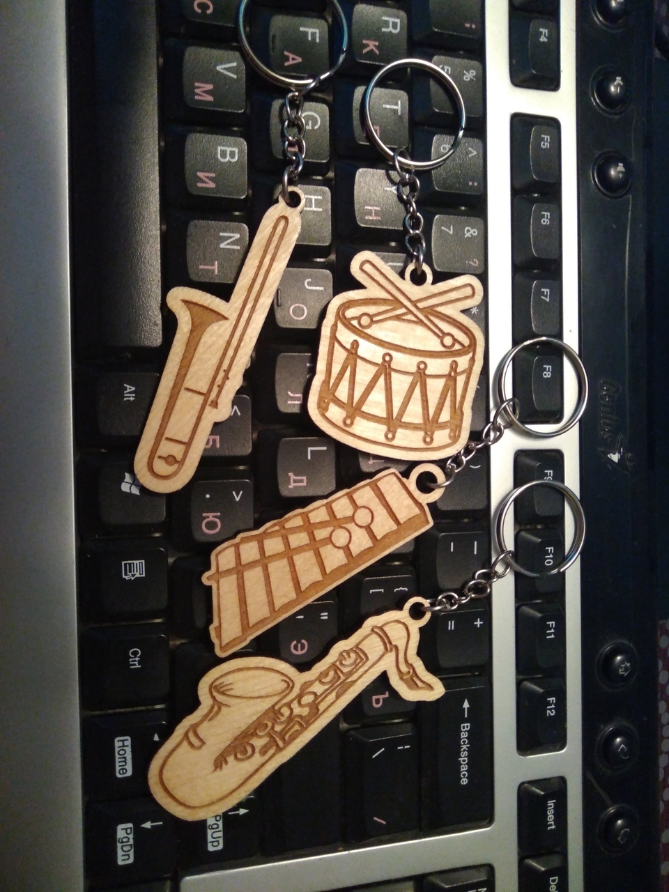 Laser Cut Engraved Musical Instrument Keychains Free CDR Vectors Art