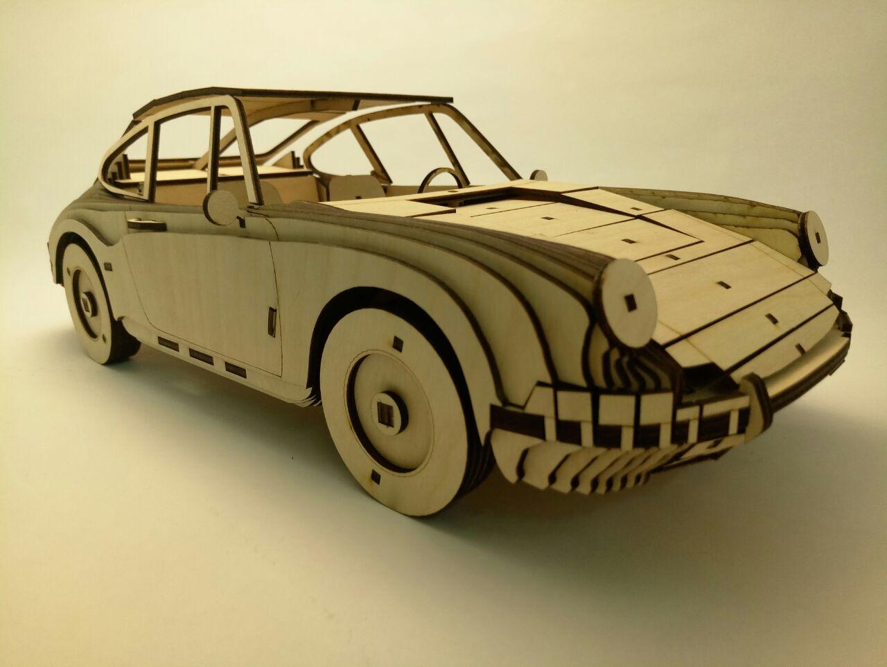 Laser Cut Porsche 911 1964 Wooden Model Free CDR Vectors Art