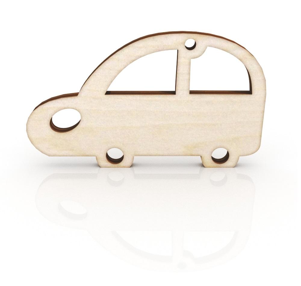 Laser Cut Retro Car Keychain Wooden Key Ring Free CDR Vectors Art