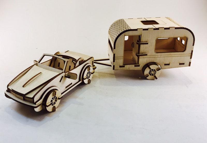 Laser Cut Toy Car And Caravan Set Free CDR Vectors Art