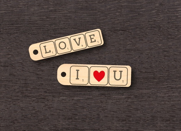 Laser Cut Valentine Day Keychains Keyrings Template Free CDR Vectors Art