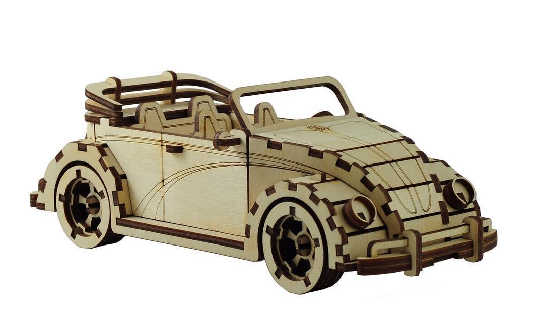 Laser Cut Vw Fusca Cabriolet Free CDR Vectors Art