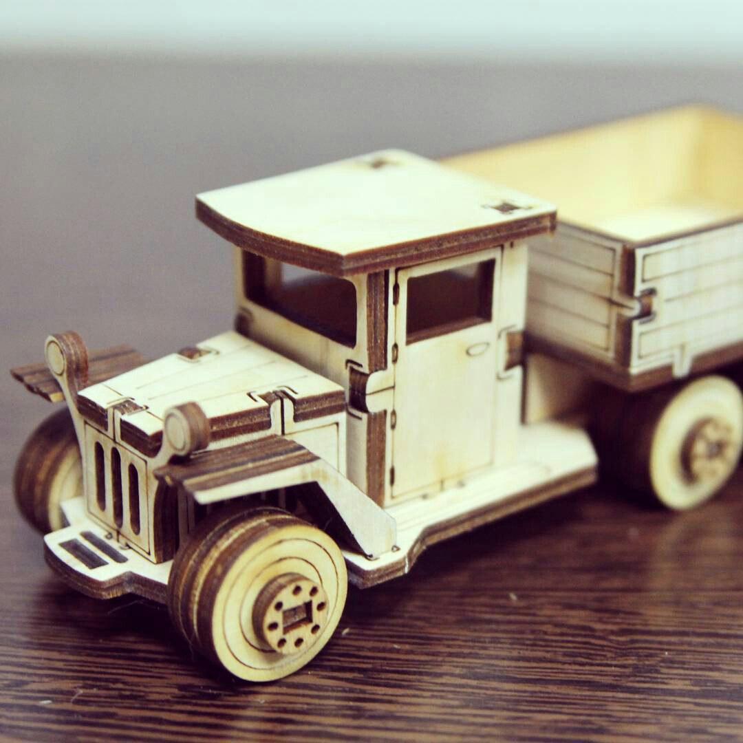 Laser Cut Wooden Truck Toy Vehicle Free CDR Vectors Art