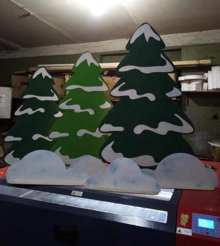 Laser Cut Big Trees Template Free CDR Vectors Art