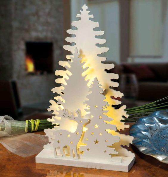 Laser Cut Lamp Deer In Forest Free CDR Vectors Art