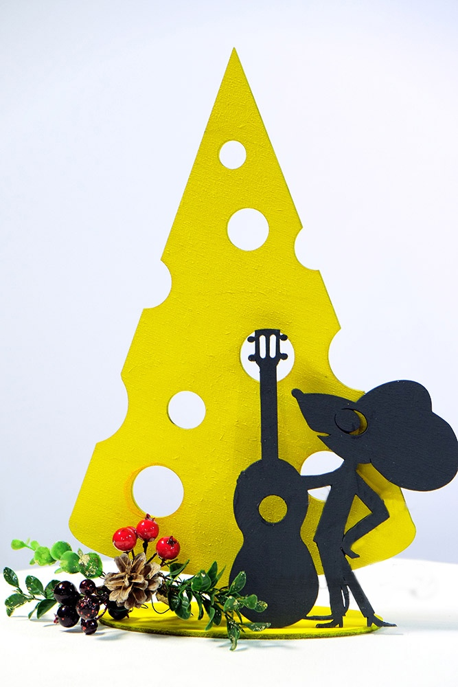 Laser Cut Mouse With Guitar Free CDR Vectors Art