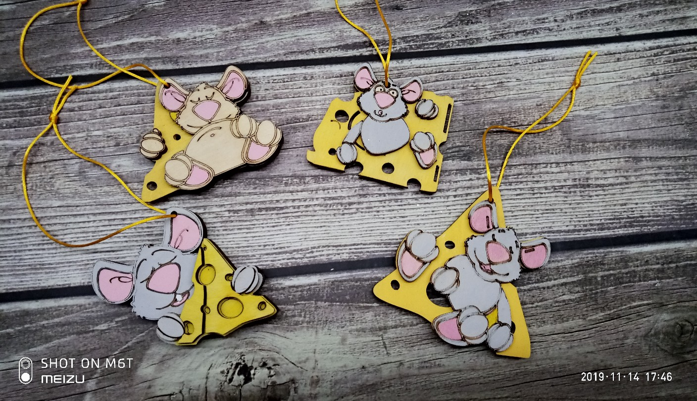 Laser Cut New Year Mouse Design Free CDR Vectors Art