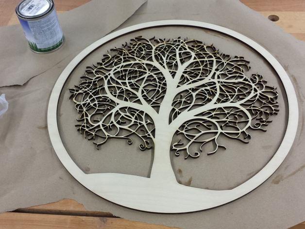Laser Cut Tree In Circle Free CDR Vectors Art