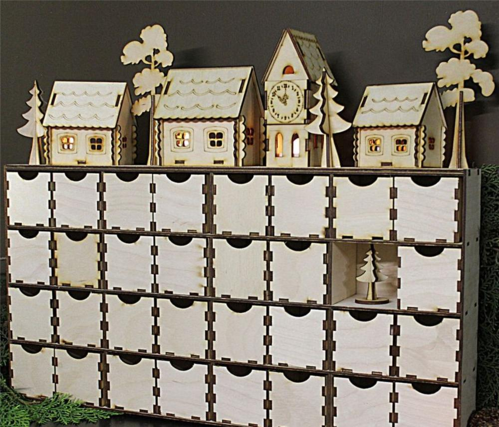 Laser Cut Wooden Advent Calendars With Drawers Box Free CDR Vectors Art