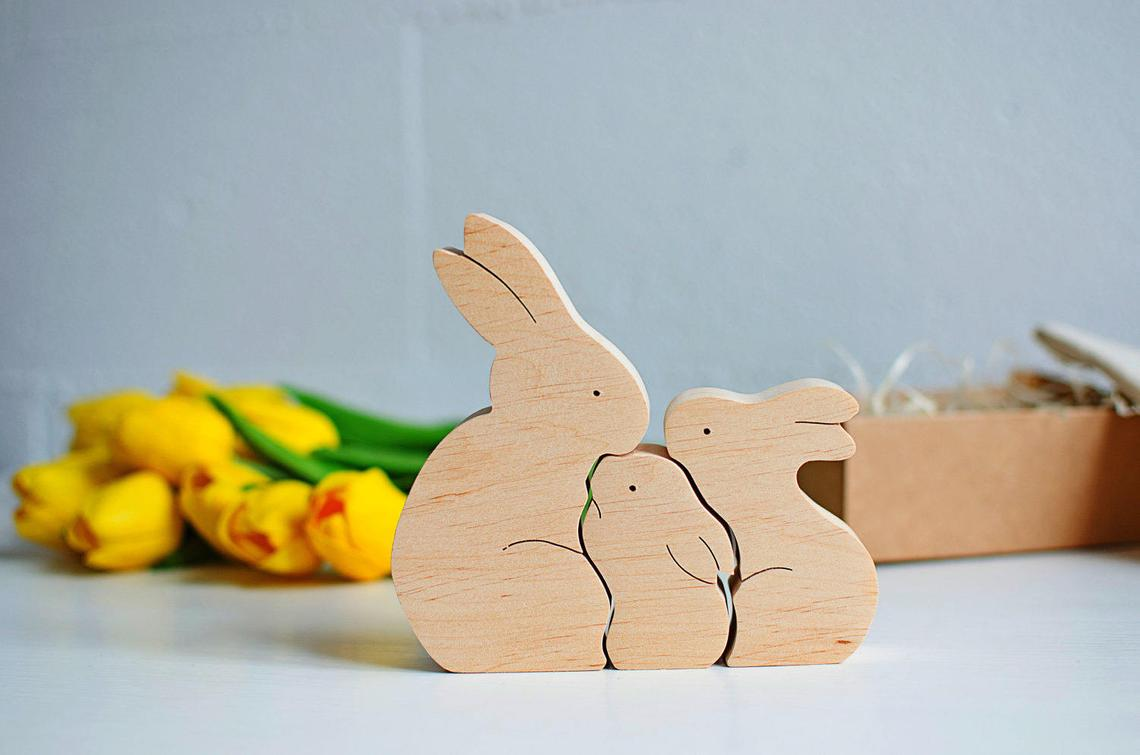 Laser Cut Wooden Bunny Puzzle Family Easter Kids Gift Toys Free CDR Vectors Art
