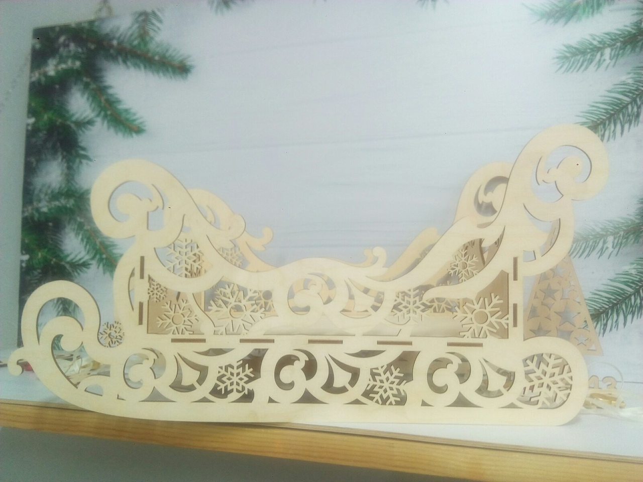 Wooden Decorative Sleigh Laser Cutting Template Free CDR Vectors Art