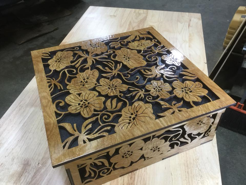 Laser Cut Wood Flower Box Free CDR Vectors Art