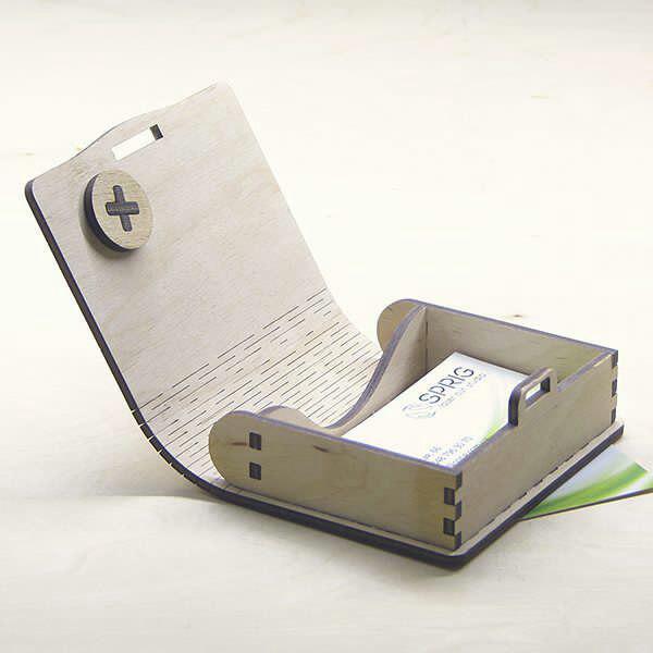 Laser Cut Wooden Business Visiting Card Box Free CDR Vectors Art