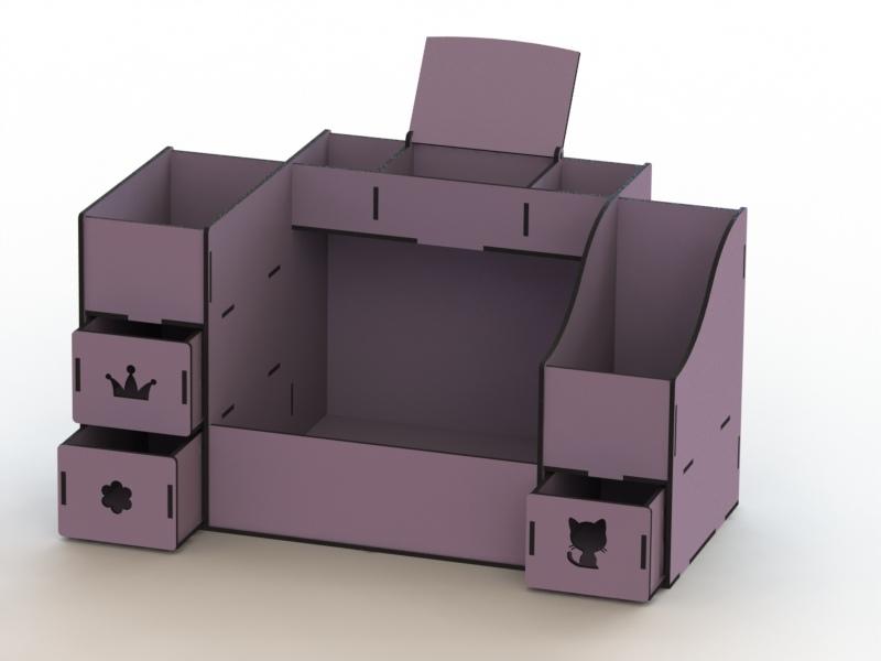 Makeup Box Wood Organizer Plywood Organizer Free CDR Vectors Art