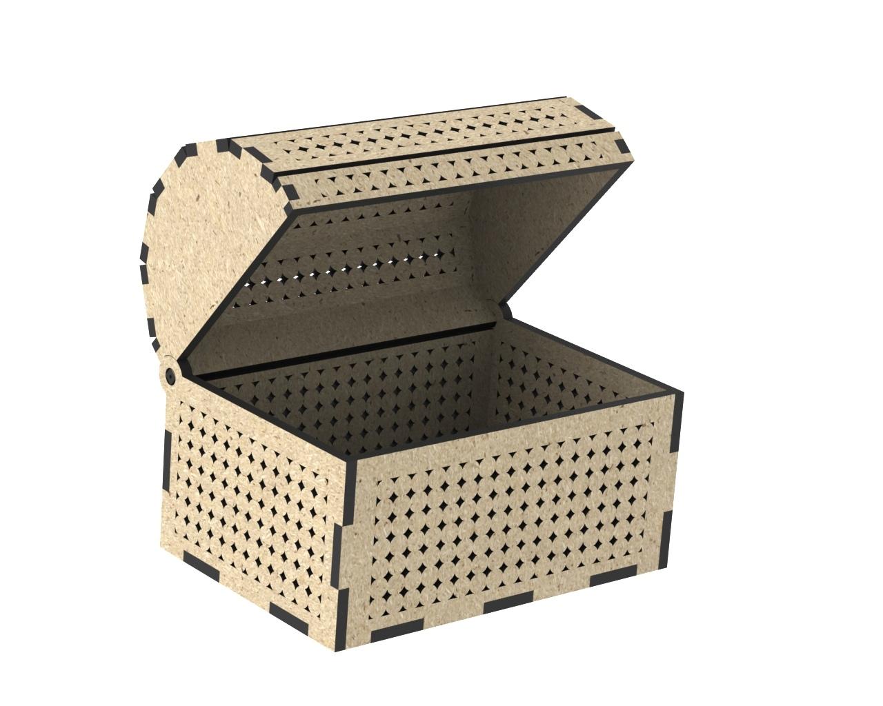 Treasure Chest Jewelry Box Laser Cut Free CDR Vectors Art