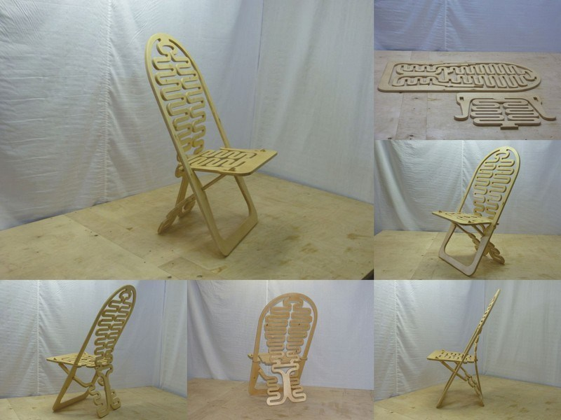 Designer Flexible Wooden Chair Cnc Free CDR Vectors Art