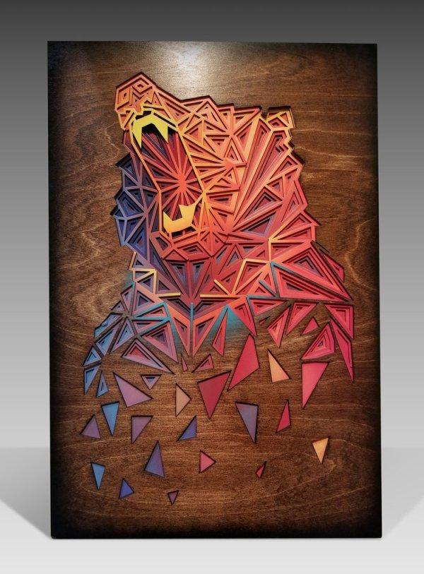 Multicolor Bear Wall Hanging Sculpture Cnc Free CDR Vectors Art