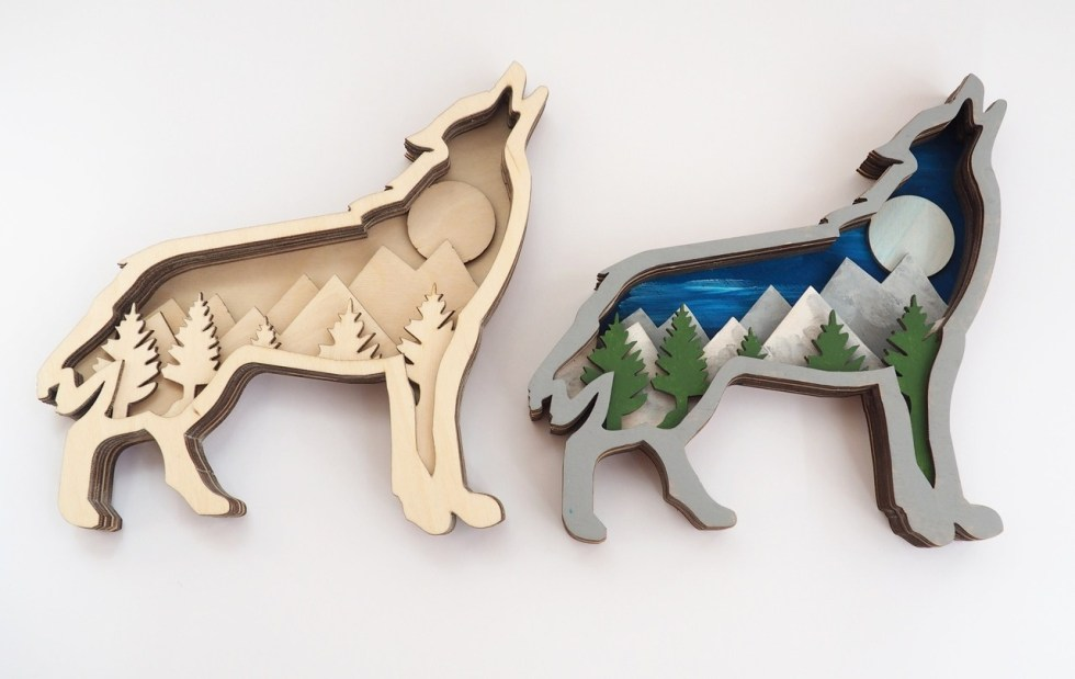 Multilayer Wolf Wall Hanging Cnc Free CDR Vectors Art