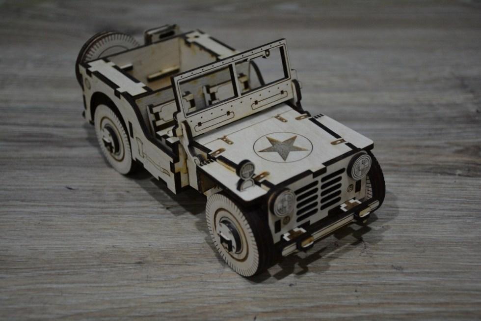 Wooden Jeep Puzzle Cnc Cutting Free CDR Vectors Art