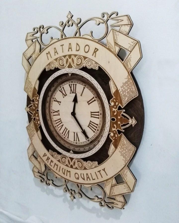 Wooden Matador Premium Wall Hanging Clock Cnc Free CDR Vectors Art
