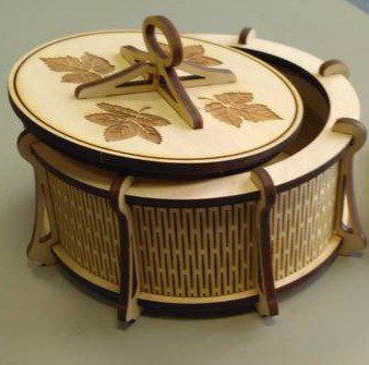 Round Carved Box Laser Cut Free DXF File