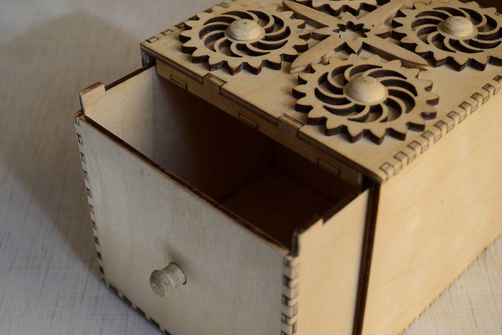 Candy Vault Wood Box With Secret Mechanical Lock Free CDR Vectors Art
