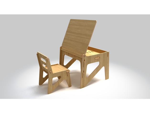 Children Desk With A Chair 12mm Free DXF File