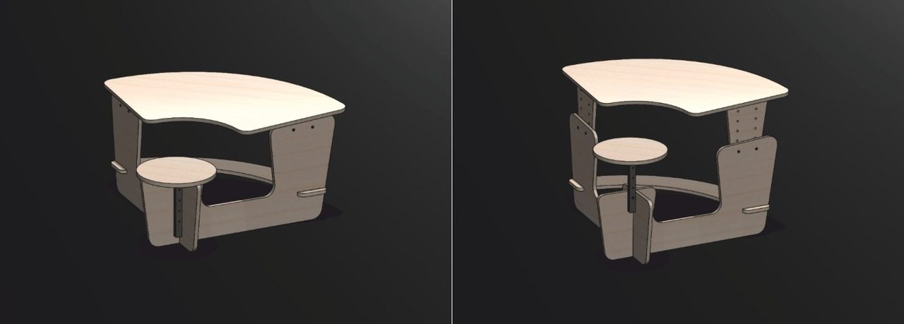 Growing Desk With A Chair Free DXF File