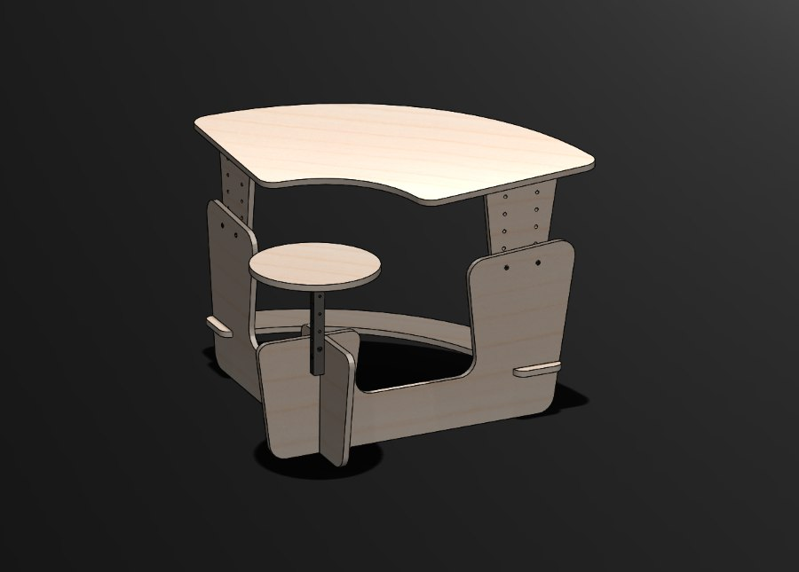 Kid Desk With A Chair Free DXF File