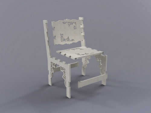 Laser Cut White Chair Free DXF File