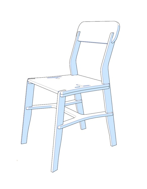 Plywood Chair Laser Cut Free DXF File