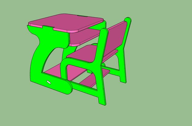 Kid Chair And Table Free CDR Vectors Art