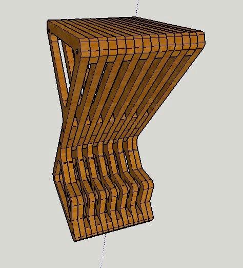 Laser Cut Furniture Parametric Delta Bar Stool Free CDR Vectors Art