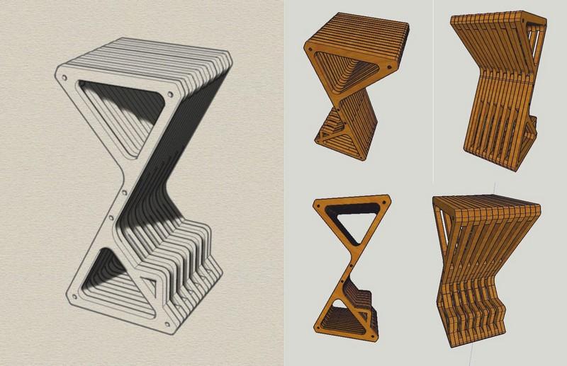 Laser Cut Parametric Delta Bar Stool Free CDR Vectors Art
