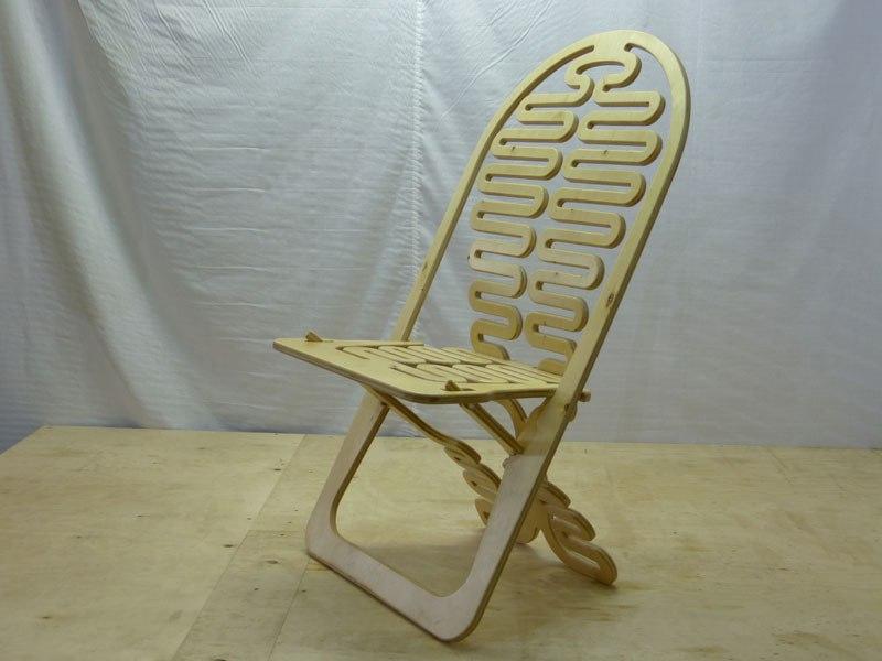 Laser Cut Wooden Folding Chair Free CDR Vectors Art