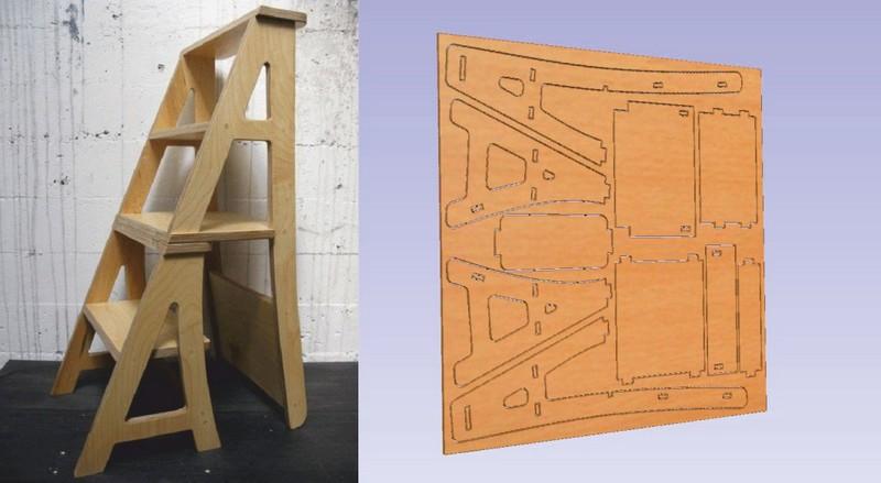 Stepladder Chair Laser Cut Free CDR Vectors Art