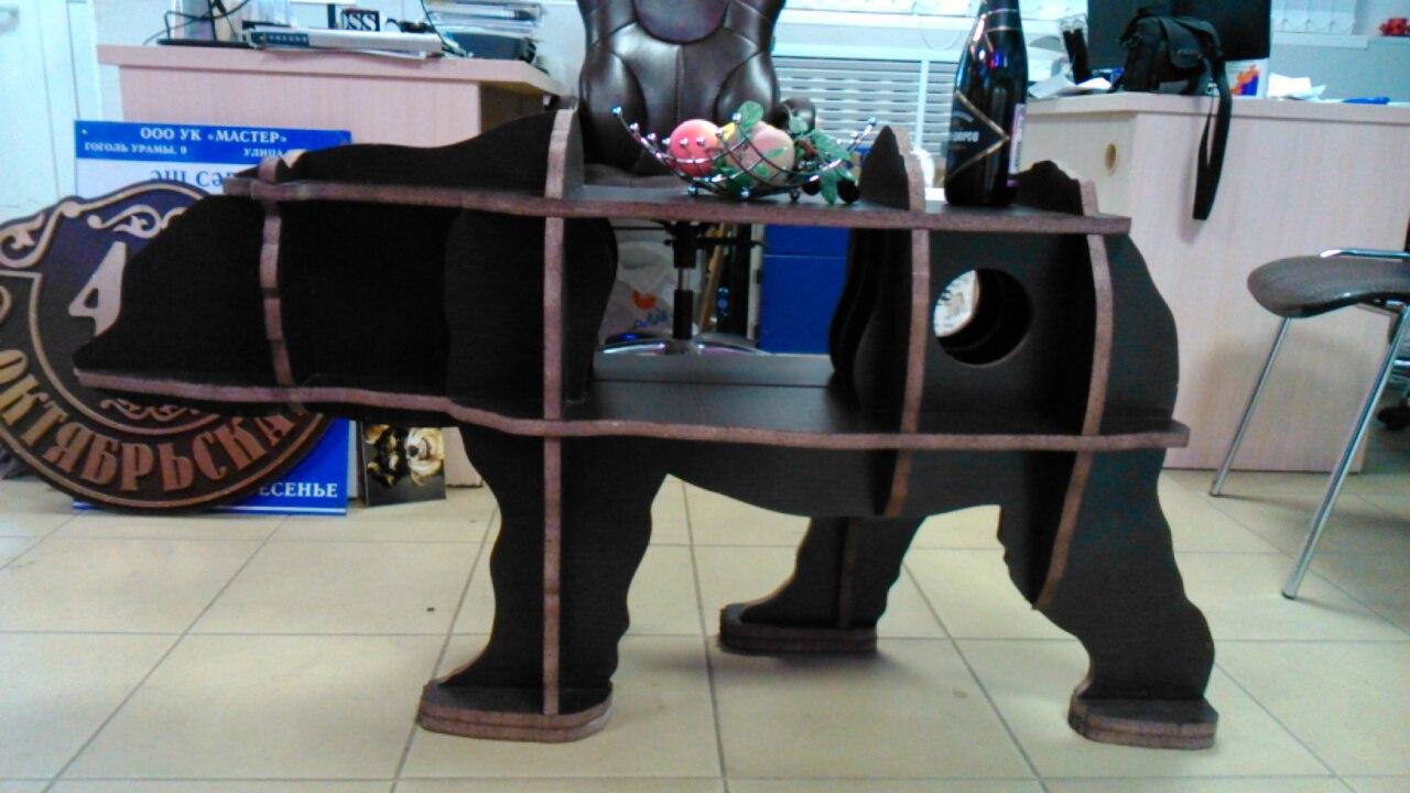 Laser Cut Bear Table 20mm Free CDR Vectors Art