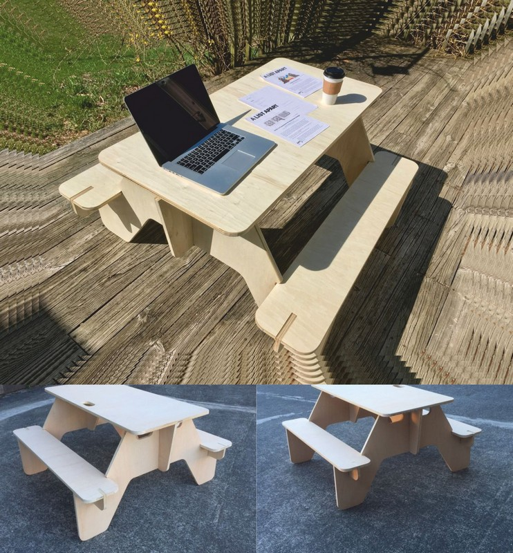 Laser Cut Picnic Table (plywood 18mm) Free CDR Vectors Art