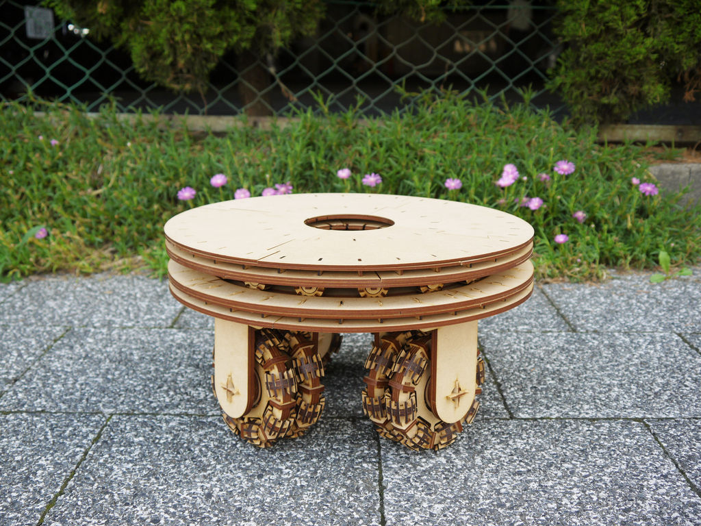Laser Cut Wheel Stool Table Free CDR Vectors Art