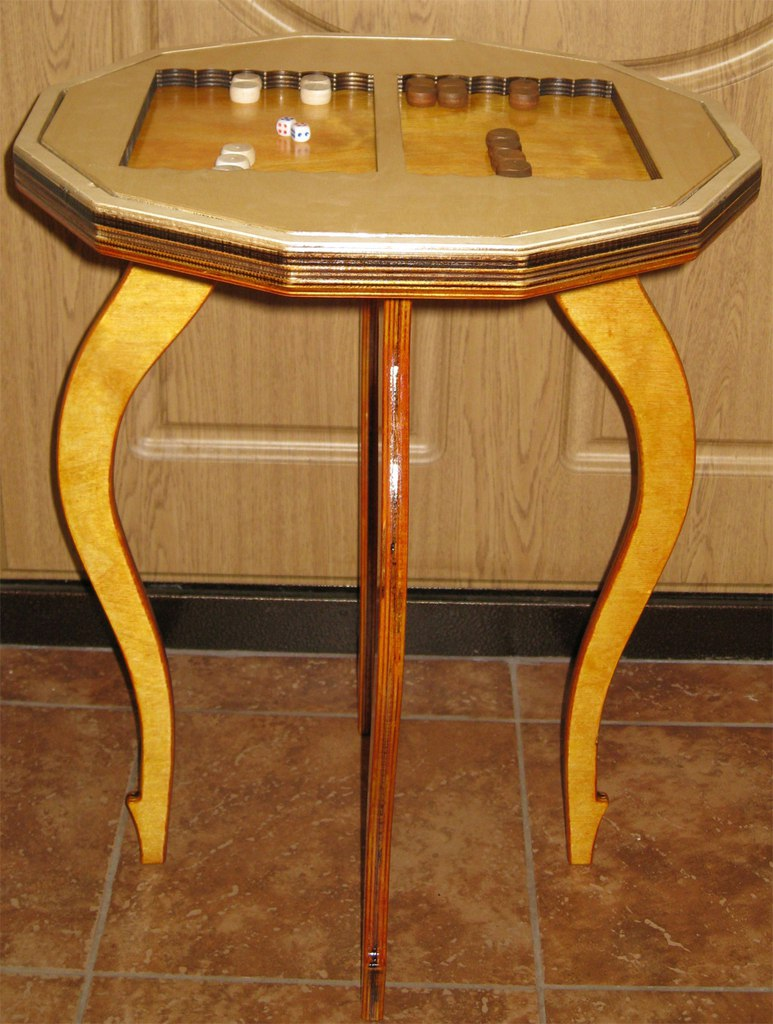Laser Cut Backgammon Coffee Table Free DXF File