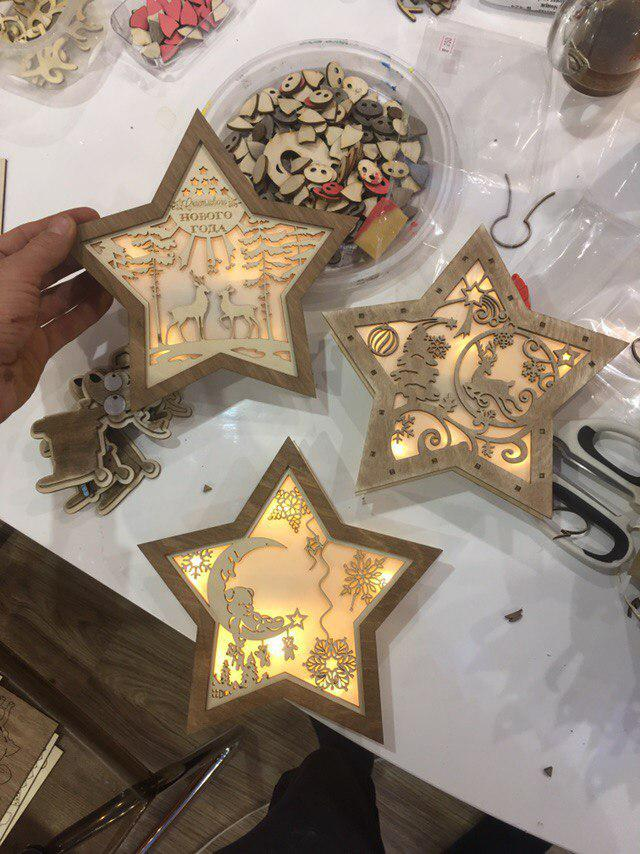 Christmas Decoration Nightlight Star Laser Cut Free CDR Vectors Art