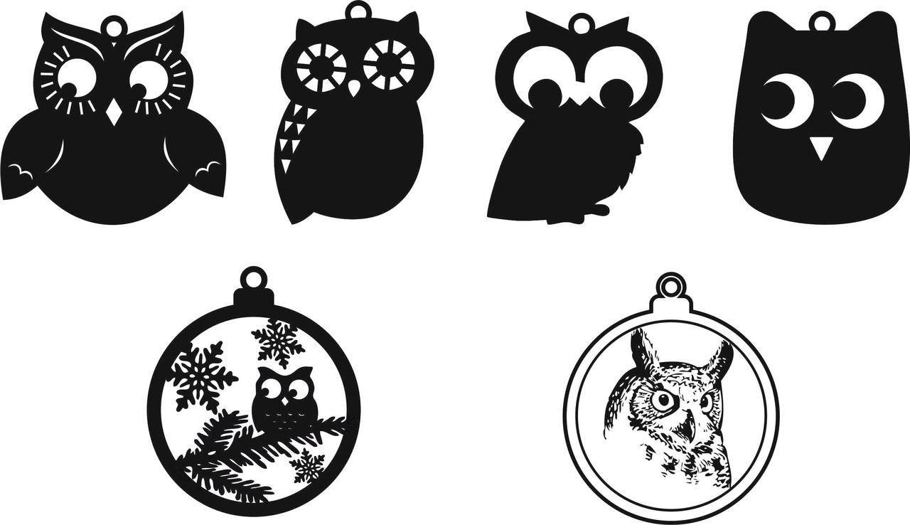 Christmas Tree Owl Decorations Free CDR Vectors Art