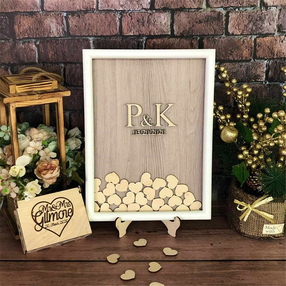 Laser Cut Wedding Guest Book Drop Box With Hearts Free CDR Vectors Art