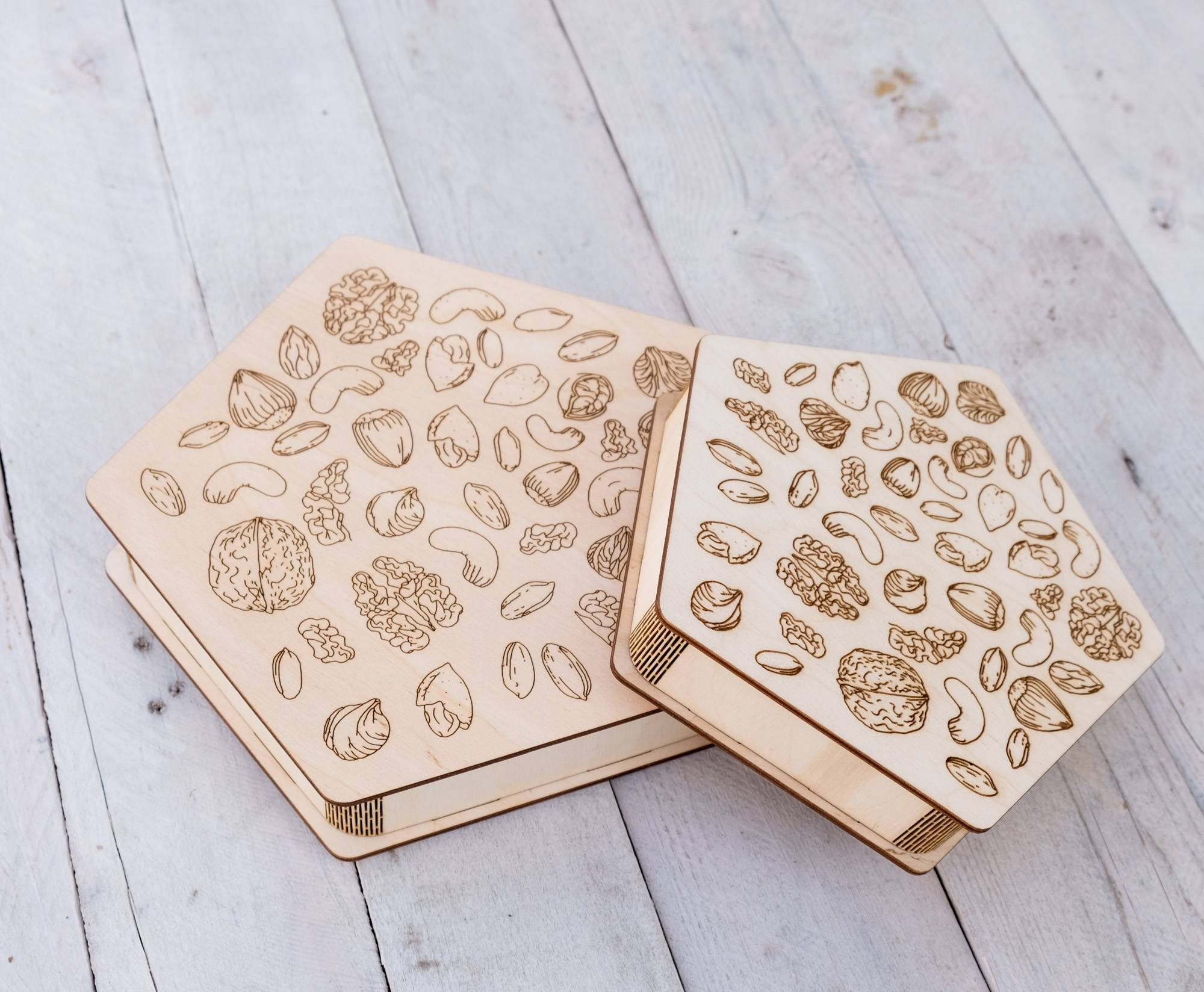 Laser Engraving For Nuts Wooden Gift Box Free CDR Vectors Art